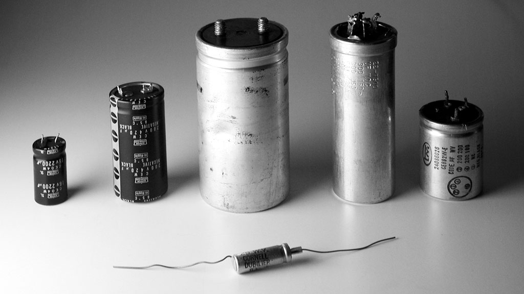 Five different sized capacitors
