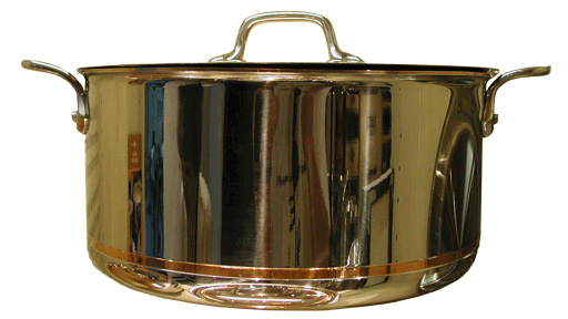 Stainless steel pot with a visible copper band near the bottom