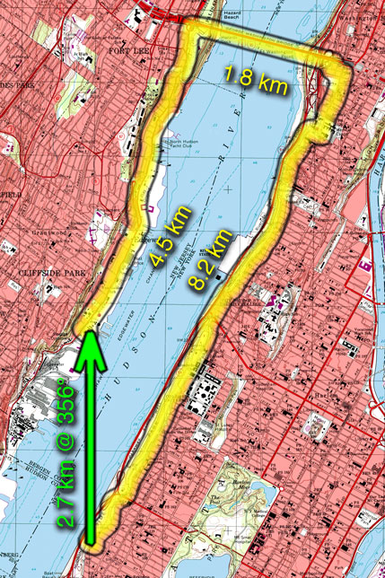 Topographic map of New York City with markup