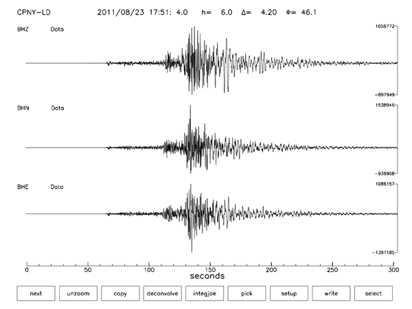 Central Park Seismometer Readings 2011-08-23