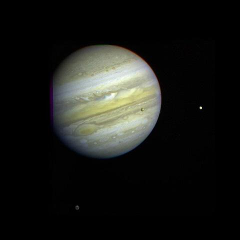 Jupiter and Three Galilean Satellites