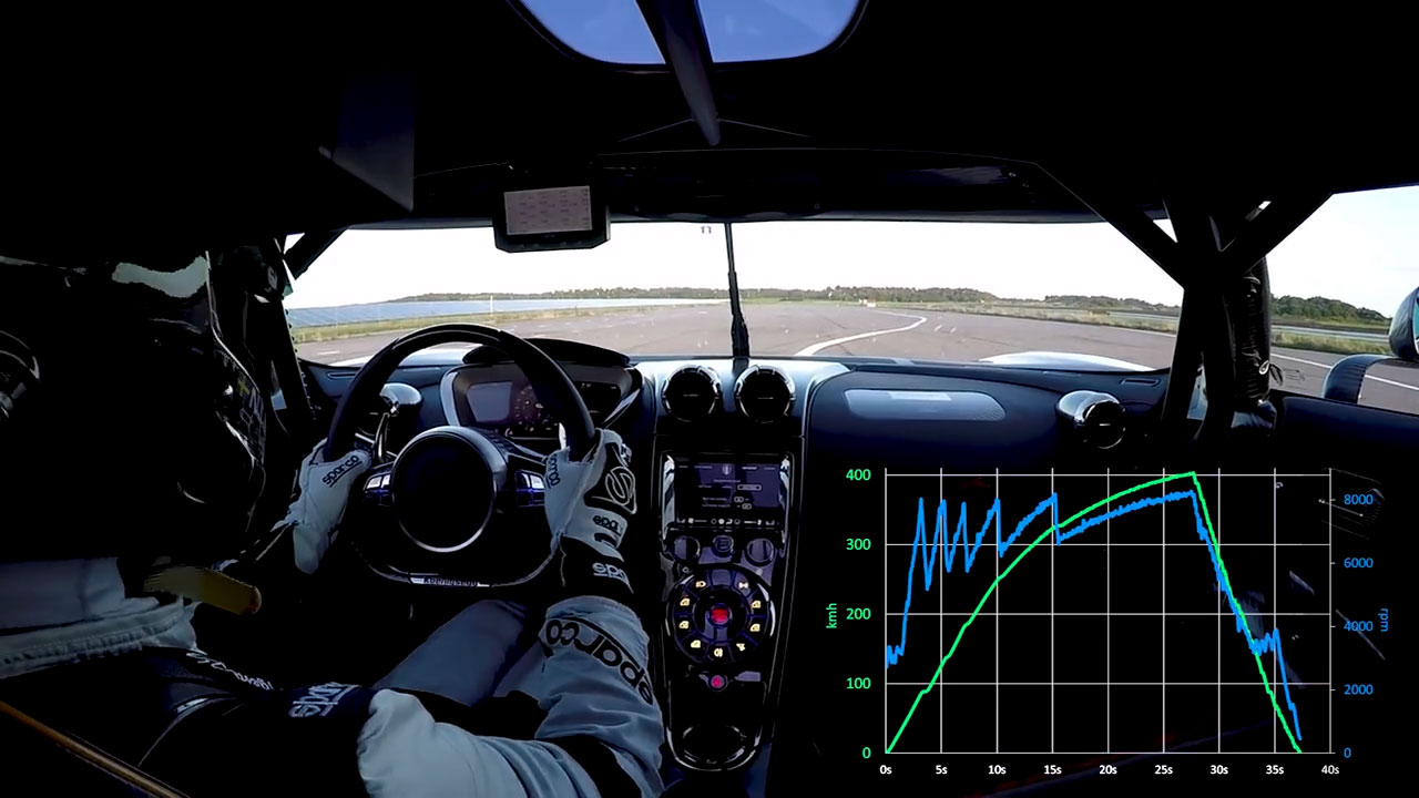 Driver's view of runway with speed-time and rev-time graph insert