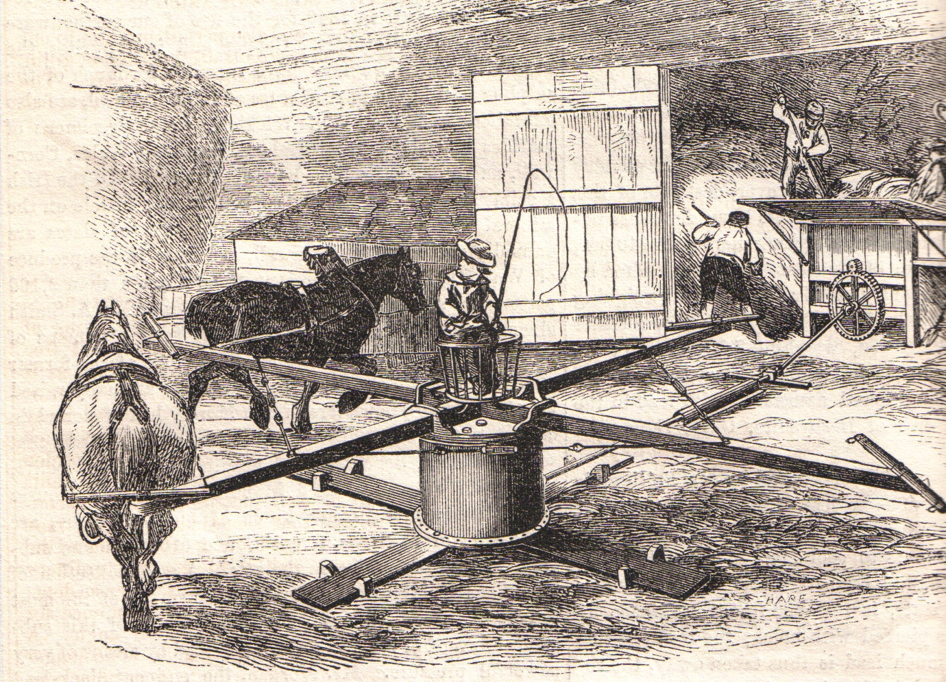 Engraving of a horse mill