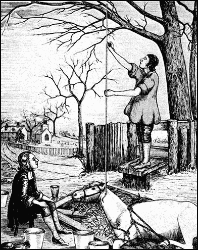 Woodcut of a seated Mr. Hales attending to a lying horse with a standing assistant measuring the height of a vertical column connected to the horse's neck artery.