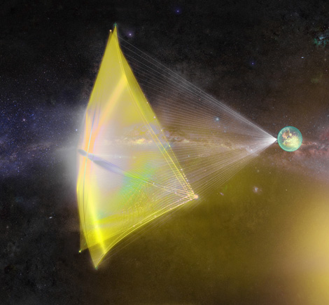 Sail in space capturing laser light shot from the earth