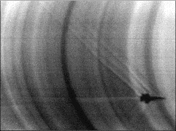 Photograph of F-18 shock waves