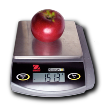 McIntosh apple on an electronic balance reading 151.3 grams