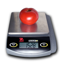 Tomato on an electronic balance reading 152.8 grams